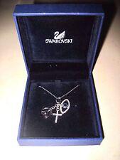 Swarovski Silvertone Necklace Peace Sign, Cross, Evil Eye w/ crystals w/Box MINT