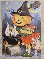 Postcard ~ 14x10cm Vintage Halloween reprint Pumpkin Head Stirring Potion