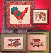 Graphworks Ltd. COUNTRY CORNER 4 Cross Stitch Charts/Leaflet ~ rooster/house