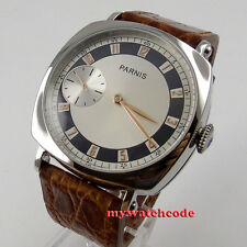 44MM parnis silver dial gold marks Asia 6497 hand winding mens wrist watch 514