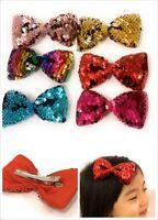 """4"""" Girls Big Glittery Sequin Novelty Bow Hair Alligator Clip Clips Slide Gift"""