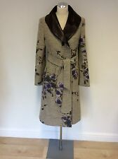MULBERRY NATURAL & PURPLE FLORAL WOOL BLEND & LEATHER COLLAR BELTED COAT SIZE 10