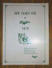 NEW YEAR'S EVE AT DOOLEY'S 1979 Original Menu TORONTO Restaurant