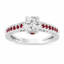 0.80 Carat Diamond & Rubies Engagement Ring, 14K White Gold GIA Certified