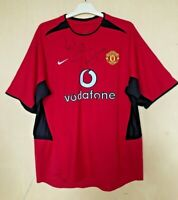 FC MANCHESTER UNITED 20022004 HOME FOOTBALL JERSEY SOCCER SHIRT VINTAGE SIGNED