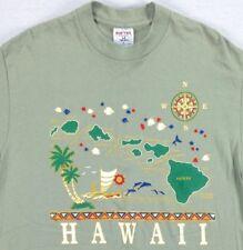Vintage USA Made Hawaii T-Shirt sz LARGE Slim Fit Surf Skate 80s Barrel Sleeve