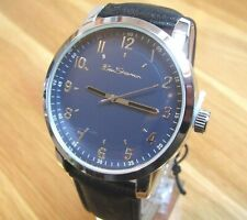 NEW MENS BEN SHERMAN WATCH  ROUND BLUE  DIAL BLACK FAUX LEATHER STRAP BS139