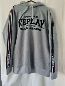 Mens Replay Grey Hooded Top Bnwt Size XL
