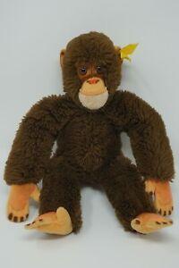 Steiff Affe Schimpanse Jocko, Knopf und Fahne 060250; 28 cm