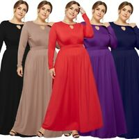 Plus Size Women Fashion Summer Evening Party Maxi Long Sleeve Tank Sexy Dress
