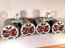 2400 Watt Metallic Bling Black Quattro Boat Wakeboard Tower Speakers SJS Dezign