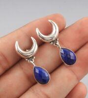 Lapis Lazuli Gemstone 925 Sterling Silver Earrings Fine Jewelry