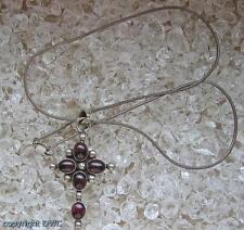 Granatkreuz Granatcollier Collier mit Granat Granate Kreuz 925 Silber Antik