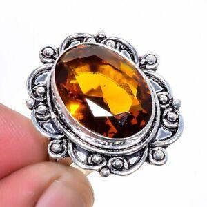Golden Topaz Gemstone 925 Sterling Silver Jewelry Ring s.9 W3172