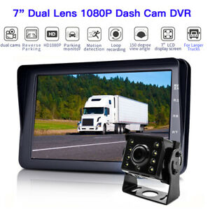 7 Inch 150 ° Wide Angle Front+ Rear 1080P Truck Dash Camera DVR Parking Monitor