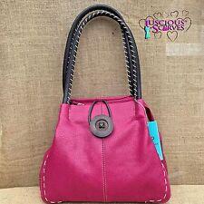 Ladies Pink Faux Leather Big Button Fashion Shoulder Bag Handbag