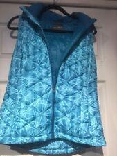 Tek Gear Womens Medium Puffer Vest Detachable Hood Zip Front Blue Pattern