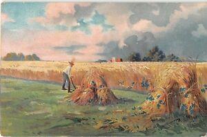 Tuck O'er Hill & Dale 1912 Landscape PC-Farmer With Scythe Making Wheat Shocks