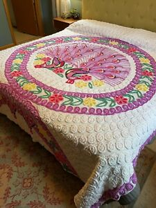 Vintage Peacock Chenille Bedspread Pink Full/Queen