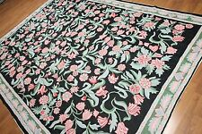 8' x 10' Hand woven French Needlepoint Aubusson 100% wool Area rug 8x10