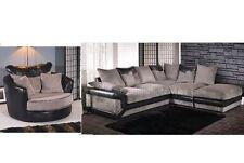 Dino Jumbo Black & Grey Corner Sofa with Matching Swivel Cuddle Chair Right Hand