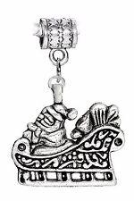 Santa Claus Sleigh Christmas Holiday Dangle Charm for European Bead Bracelets