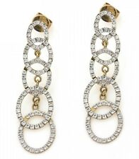 3.50ct NATURAL DIAMOND 14K YELLOW GOLD WEDDING ANNIVERSARY DANGLER  EARRING