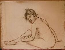 Dessin Fusain ÉDOUARD LOUIS HENRY-BAUDOT(1871-1953)  Etude de Nu  HB6