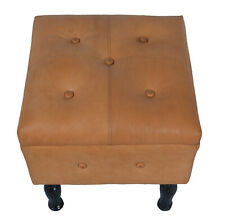 Indian Handmade Designer Pure genuine tan Leather With Wooden Leg Base Stool