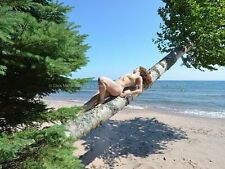 0809-JML Nude in Nature Fit Young Woman Naked Birch Tree Lake Superior by Maher