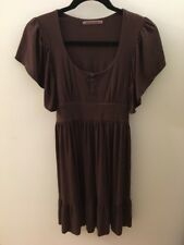 Velvet by Graham & Spencer Brown Jersey Knit Dress With Flutter Sleeves, Size P