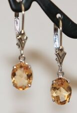 14k White Solid Gold Leverback One Stone Dangle Earrings, Natural Citrine 2.2CTW