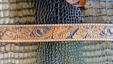 western belts hand carved with antique silver and ruby tip 38""