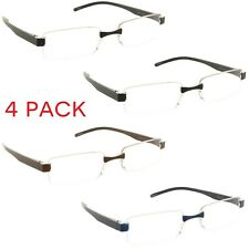 4 Pack Reading Glasses Rimless Clear Lens Readers for Men and Women