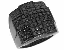 10K Gold Black Rhodium Real Diamond Iced Cross Fashion Pinky Ring 2 3/4 Ct 21MM