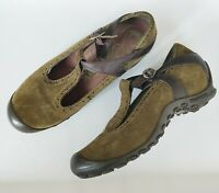 Merrell 'Plaza Strap' Mary Jane Comfort Walking Shoes Green Suede {7.5 US}