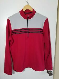 1 NWT ADIDAS CLIMACOOL MEN'S PULLOVER, SIZE: SMALL, COLOR: RED/GRAY (J150)
