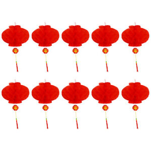 Chinese Red Plastic Lantern Traditional Wedding Festival Party Hanging Decor dm