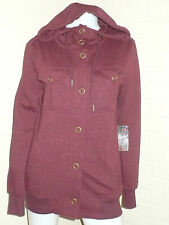 NEW EZEKIEL BURGUNDY POCKET SNAP UP HOODIE SWEATER URBAN VINTAGE XSMALL SMALL