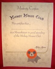 Mickey Mouse Club Mouseketeer Membership Certificate Signed By President Mickey!