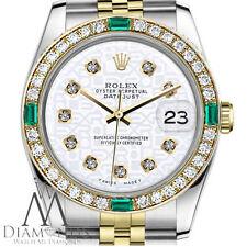 Ladies Rolex 36mm Datejust 2Tone White Color Jubilee Dial Emerald Diamonds Watch
