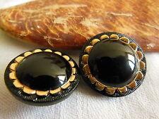 duo boutons vintage en verre noir doré lumineux diamètre: 2,1 cm ref 1649