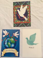Lot 3 Fantus Paper Products White Peace Dove Christmas Cards, Various Messages
