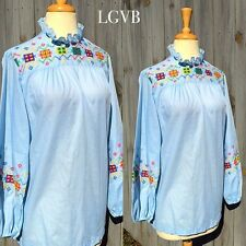Vintage Tunic Top Shirt Blouse Embroidered Hippie Boho