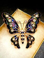 Large Multi-Color Enamel with Clear Crystal Butterfly Brooch Pin