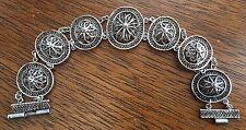 "Vintage Palestine Spun Silver Oval ""Lace"" Floral Links Delicate 7"" Bracelet"