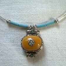 Collar Tibetano resina Ambar amuleto colgante plata tibetana Turquesa Gargantill