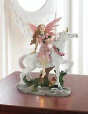 Magic Pink Fairy princess sparkle white unicorn horse statue sculpture figurine