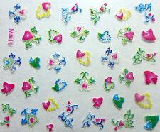 Nail art: Stickers bijoux d'ongles mode - Cœurs design originaux - multicolores