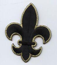 Iron On Embroidered Applique Patch Black/Gold Fleur De Lis Saints Religious LG